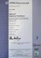 PRINCE2 Practioner Certificate for Tony Smith